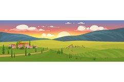 Summer sunrise in village flat color vector illustration Product Image 1
