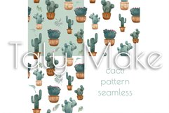 Seamless pattern of watercolor green cacti Product Image 1