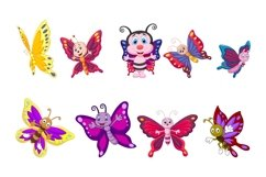 Set of Eighteen Cartoon Butterflies Character Product Image 3
