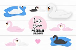 Cute Swans PNG Clipart Set - Swan Clipart Product Image 1