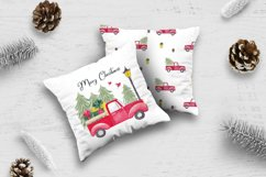Farm fresh christmas trees digital paper Red old car pattern Product Image 4