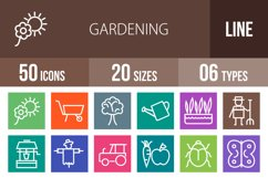 50 Gardening Line Multicolor B/G Icons Product Image 1