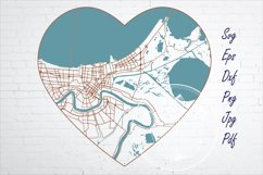 New Orleans city road map svg, eps, dxf, png, jpg, Heart art Product Image 1