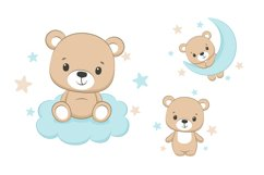 Bear clipart with moon and stars, PNG, EPS, JPG Product Image 1