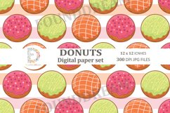 Donuts Digital Papers  12 x 12 inches 300DPI JPG files Product Image 4