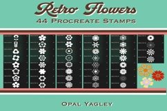 44 Retro Flower Procreate Stamps , Groovy Floral Brushes Product Image 2