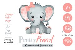 Peach Pink Watercolor Girl Baby Elephant Clipart Vector Product Image 1