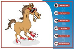 Horse cartoon smiling wearing sunglass and shoes character Product Image 1