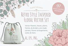 Retro Style Floral Vector Clipart Bundle - Flowers, Plants Product Image 1