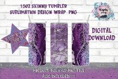 15oz Sublimation Marble  Skinny tumbler Design wrap Product Image 1
