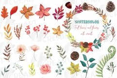 Fall leaves and flowers decor. Watercolor autumn wreath png Product Image 1