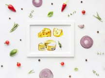 Milk and cheese - watercolor clipart Product Image 5