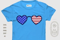 Heart Sunglasses and USA Flag Reflection - 4th of July SVG Product Image 3