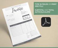 Invoice Template | Editable PDF | Printable Invoice Product Image 3