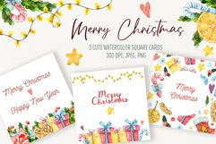 Watercolor Christmas cards templete. Christmas poster Product Image 1