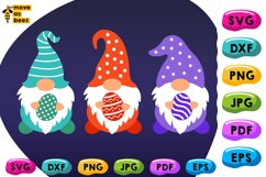 Three Easter Gnomies with Eggs Svg Easter Shirt Svg, Png Dxf Product Image 1