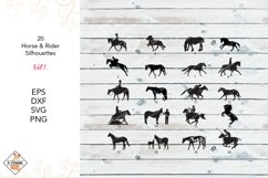 Horse & Rider Silhouettes SVG  DXF PNG EPS Product Image 1