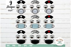 Nurse with mask hat and lashes bundle SVG,PNG,EPS,DXF,PDF Product Image 1