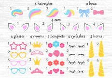 Unicorn svg, Unicorn bundle, Unicorn clipart, Unicorn eyelashes, Unicorn horn svg, Crown svg, Flower clipart, Unicorn hairstyle, Constructor Product Image 2