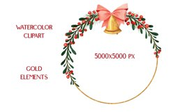 Christmas Watercolor Gold Frames Clipart Product Image 3