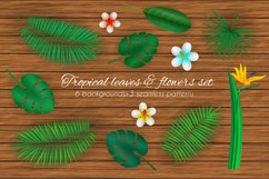 Tropical leaves and flowers set. Product Image 1