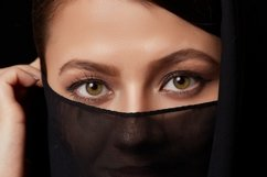 young brown-haired muslim woman in black clothes Product Image 1
