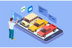 Rent car online. Isometric buy car with online phone app. Ma Product Image 1