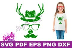 Svg Distressed Grunge Christmas vintage reindeer shirt svg files for cricut or silhouette, Reindeer with glasses red nose mustache hat svg printable Product Image 2