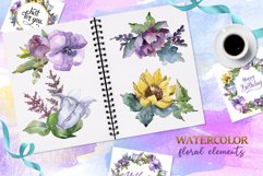 Bouquets peony, flax Watercolor png Product Image 2
