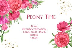 Watercolor Pink Peonies Frames Bouquets Floral Clipart Product Image 1