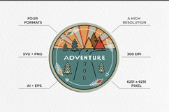 Adventure Graphic. Three round logos in doodle style Product Image 3