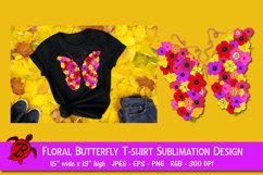 Floral Butterfly T-shirt Sublimation Design Product Image 1
