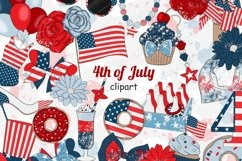 4th of July CLIPART Independence Day USA American Girl - PNG Product Image 1