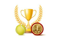 Tennis Achievement Award Vector. Sport Banner Background. Product Image 1