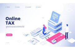 Tax payment landing page. Online tax vector web banner templ Product Image 1