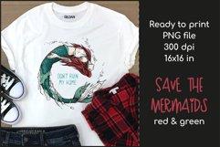 Sad Mermaid T-shirt Design, Mermaid Sublimation PNG Product Image 1
