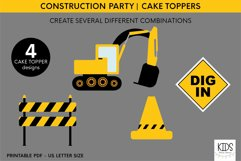 Construction party cake topper, birthday party printables Product Image 3
