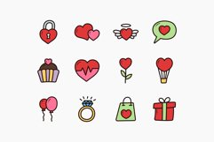 Valentine Doodle Icons - Colorful & Outline Product Image 3