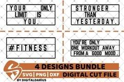 4x Fitness Quote Designs Bundle svg, Motivation svg, Workout Product Image 1