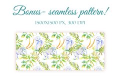 Elephants and Palm leaves watercolor clipart & BONUS pattern Product Image 3