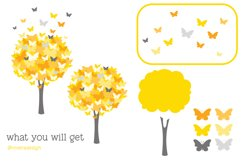 Butterfly Tree PNG SVG in Yellow and Grey Product Image 3