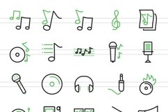 50 Music Line Green & Black Icons Product Image 2