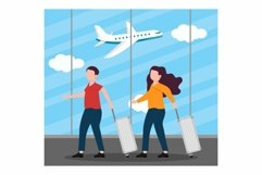 People Travelling concept at Airport flat design Product Image 1