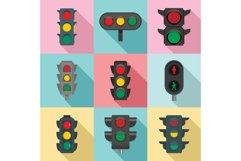 Traffic lights icon set, flat style Product Image 1