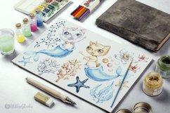 Watercolor Cat Mermaid clipart. Seashells marine clip art. Product Image 5