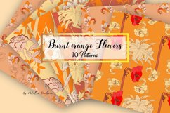 Digital Paper Burnt Orange Flowers Product Image 1