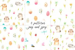 Spring Watercolor Easter Bunnies. Patterns and cliparts Product Image 4