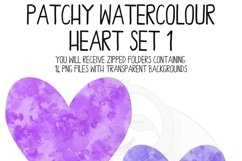 Patchy Watercolor Heart Clipart Set Product Image 4