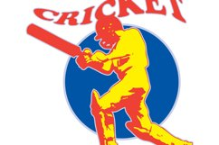 cricket player batsman batting retro Product Image 1