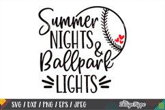 Summer Nights And Ballpark Lights SVG, Baseball SVG, DXF PNG Product Image 1